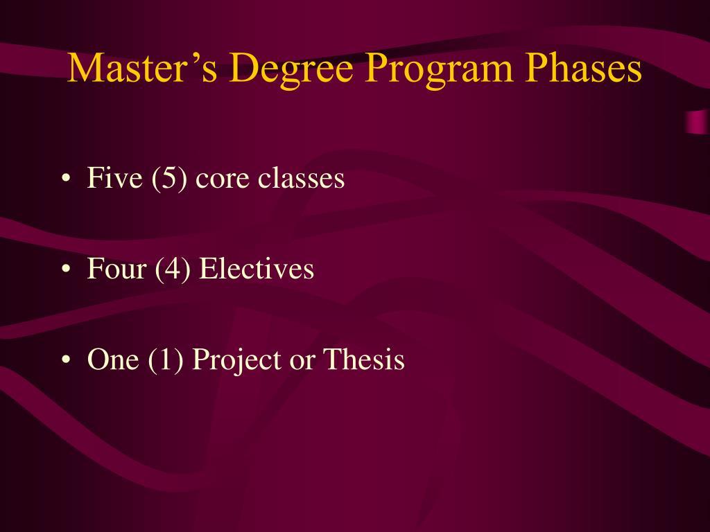 Master's Degree Program Phases
