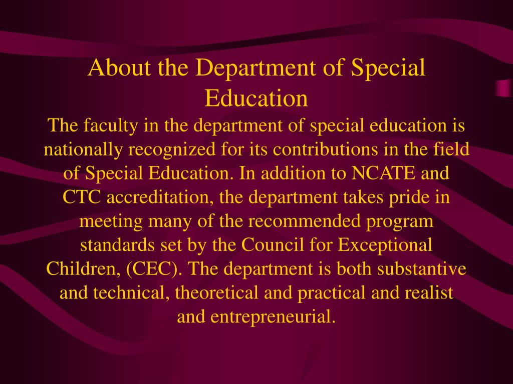 About the Department of Special Education