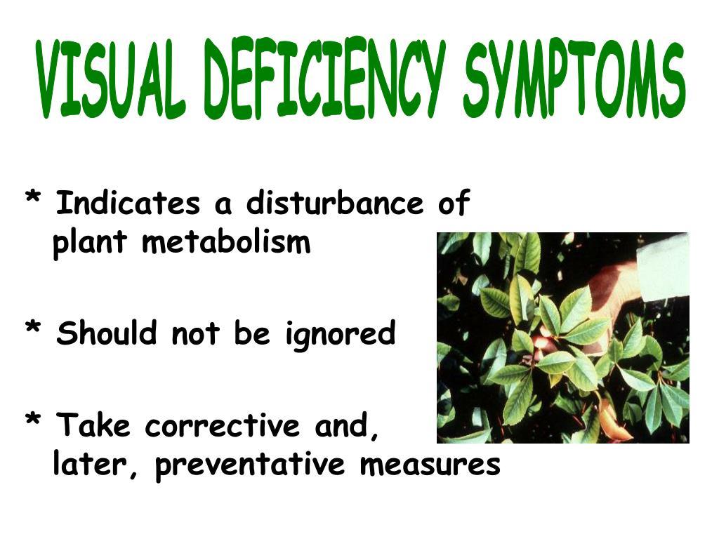 VISUAL DEFICIENCY SYMPTOMS