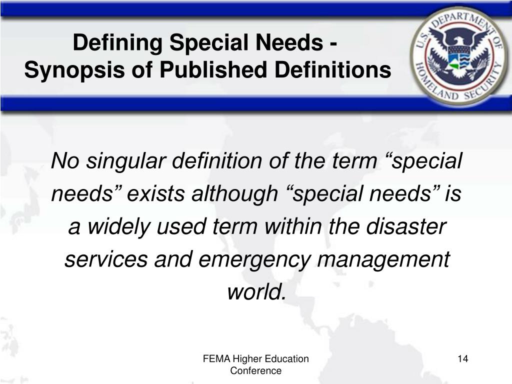 Defining Special Needs -