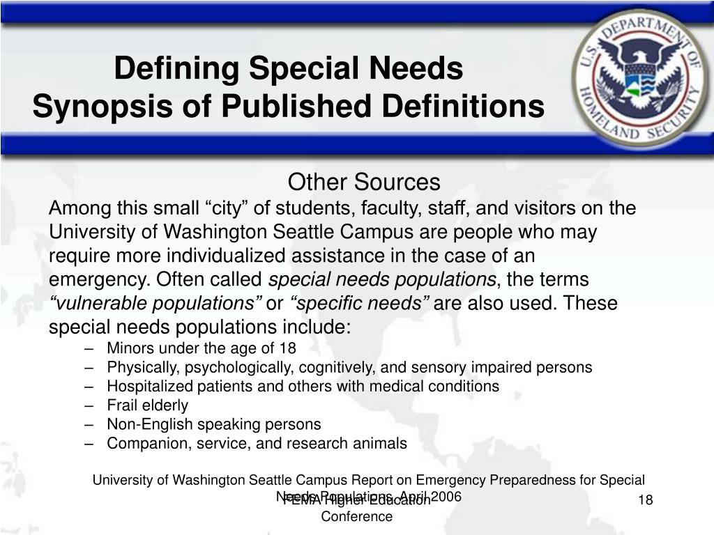 Defining Special Needs