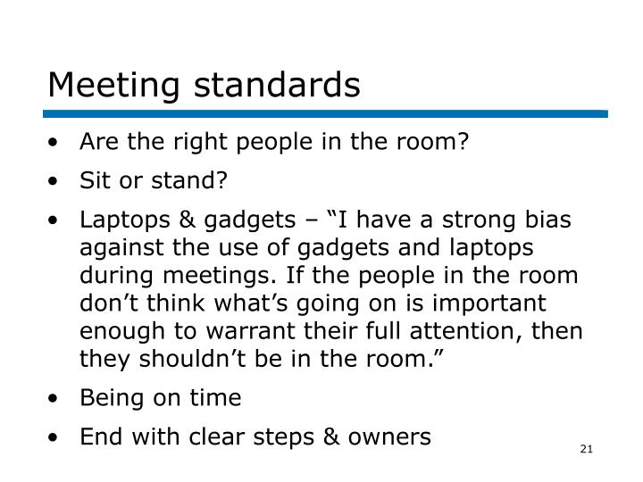 Meeting standards