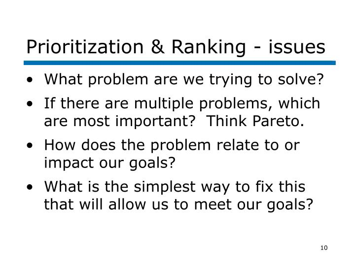Prioritization & Ranking - issues