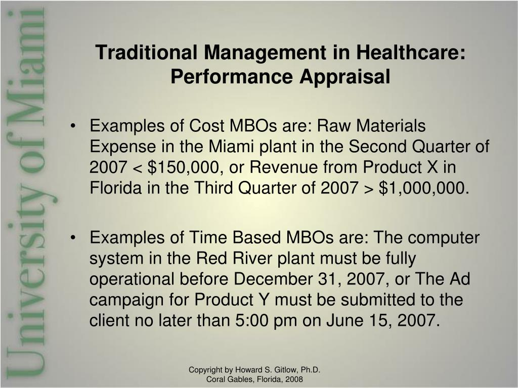 Traditional Management in Healthcare: Performance Appraisal