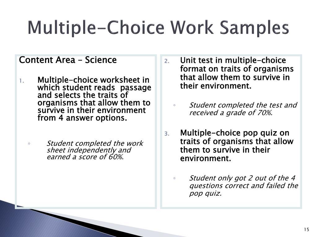 Multiple-Choice Work Samples
