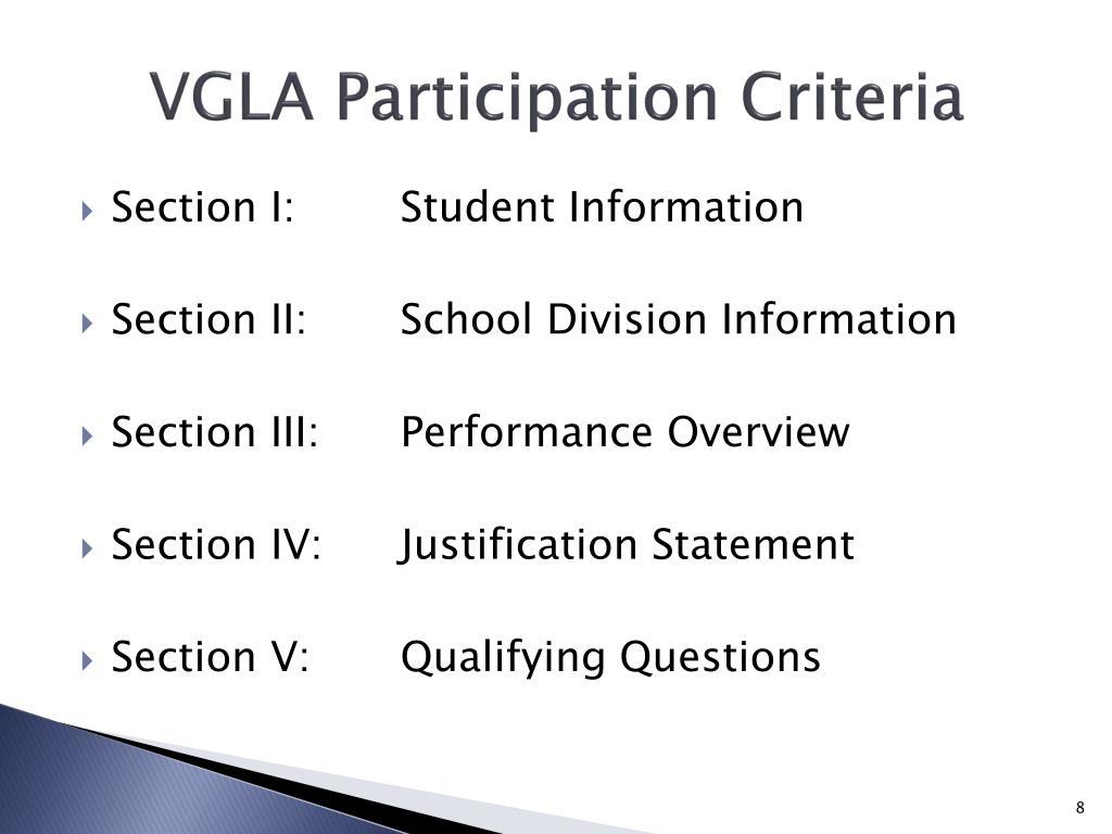VGLA Participation Criteria