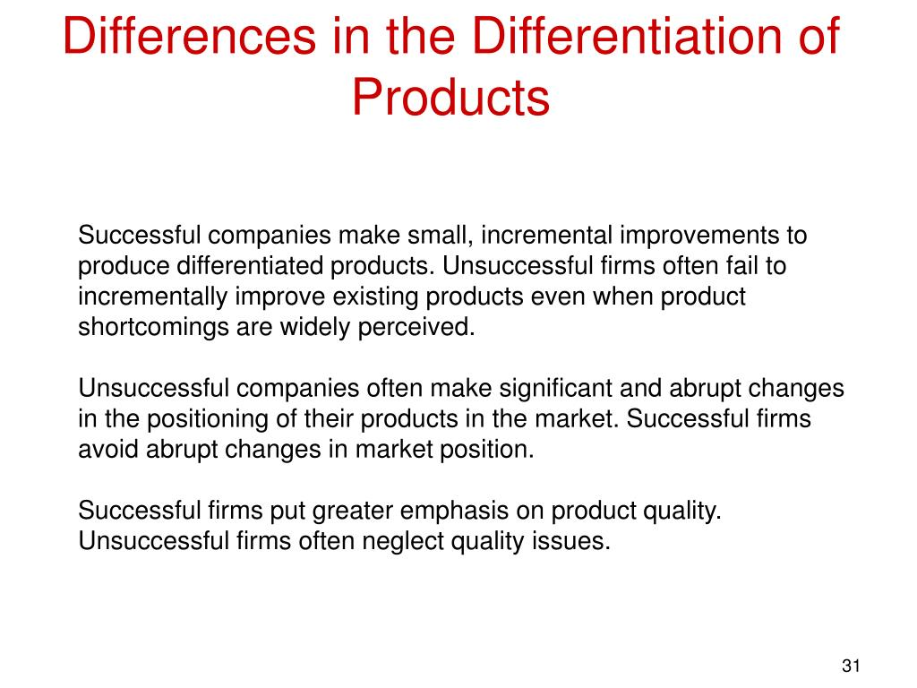 Differences in the Differentiation of Products