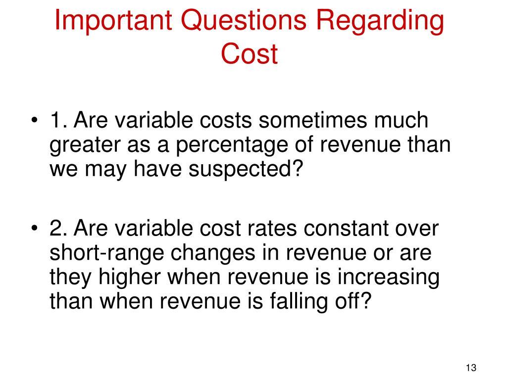 Important Questions Regarding Cost