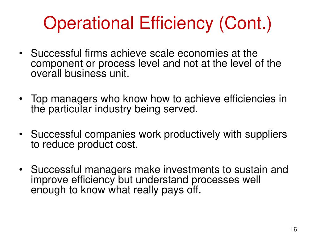 Operational Efficiency (Cont.)