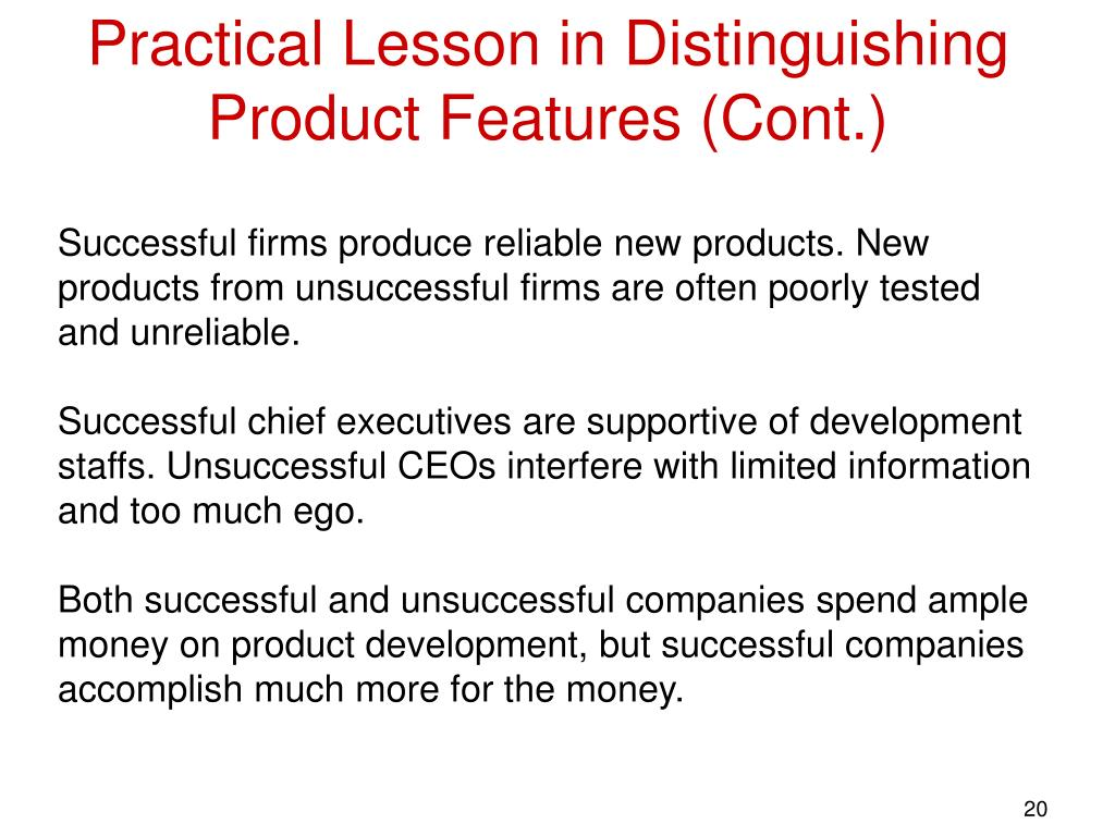 Practical Lesson in Distinguishing Product Features (Cont.)