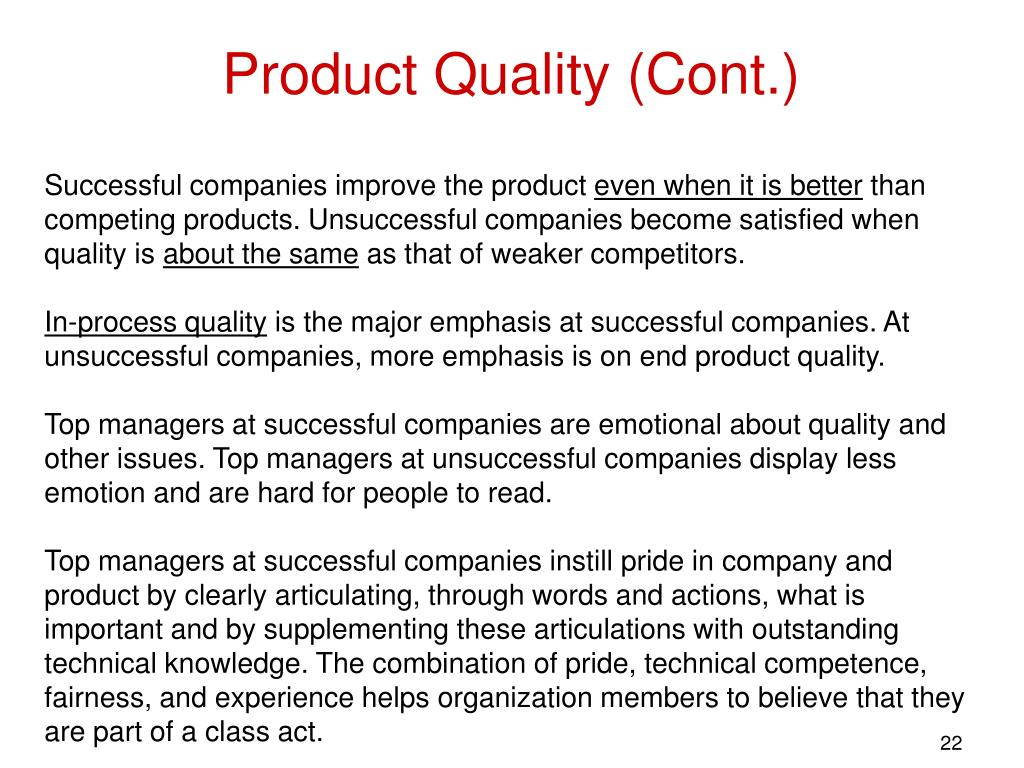 Product Quality (Cont.)