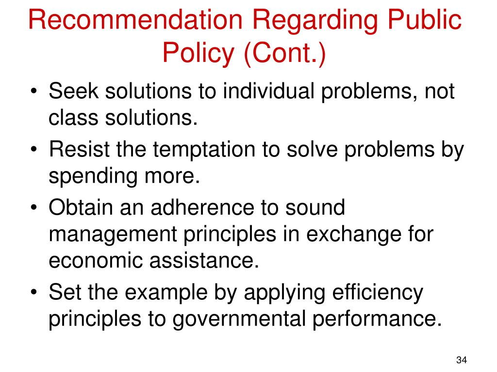Recommendation Regarding Public Policy (Cont.)