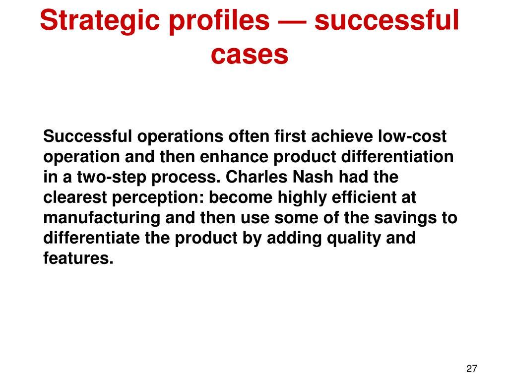Strategic profiles — successful cases