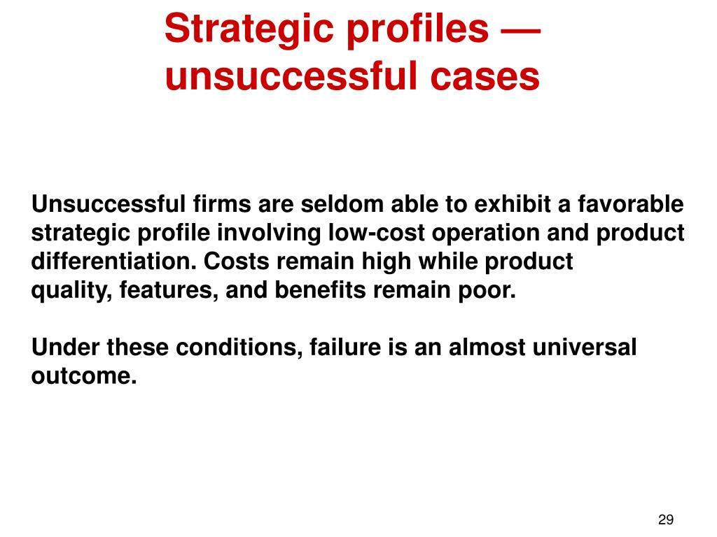 Strategic profiles — unsuccessful cases