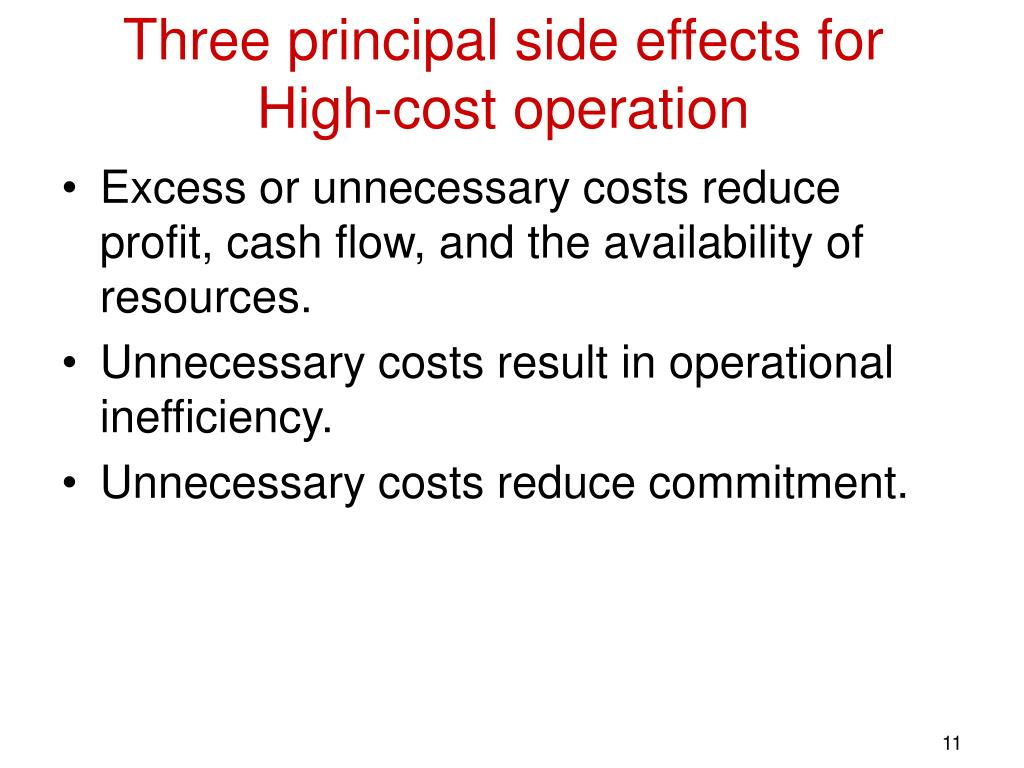 Three principal side effects for High-cost operation