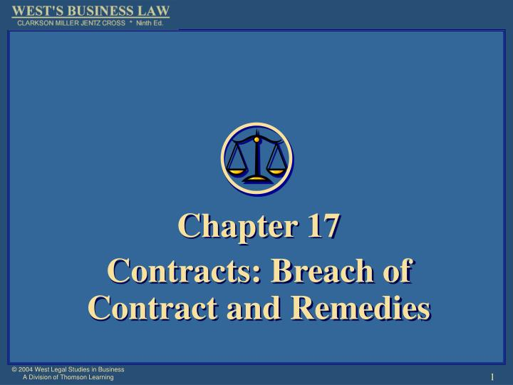 Chapter 17 contracts breach of contract and remedies