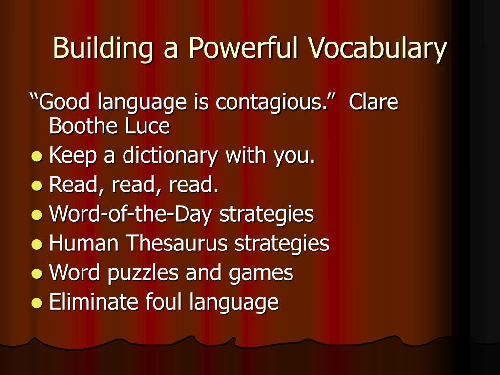 Building a Powerful Vocabulary