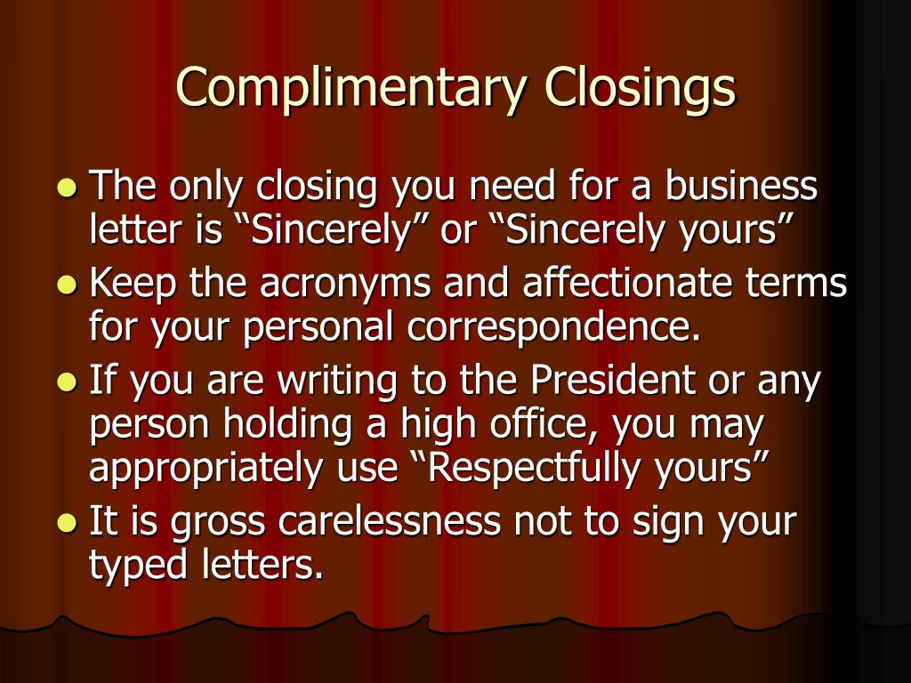 Complimentary Closings