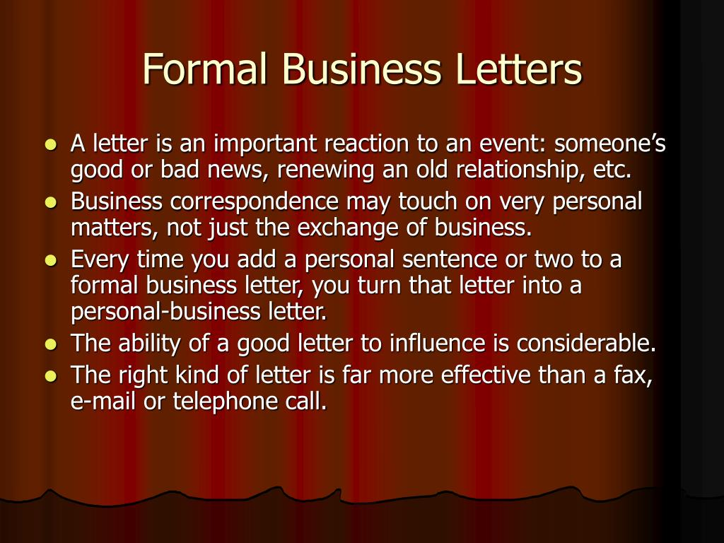 Formal Business Letters