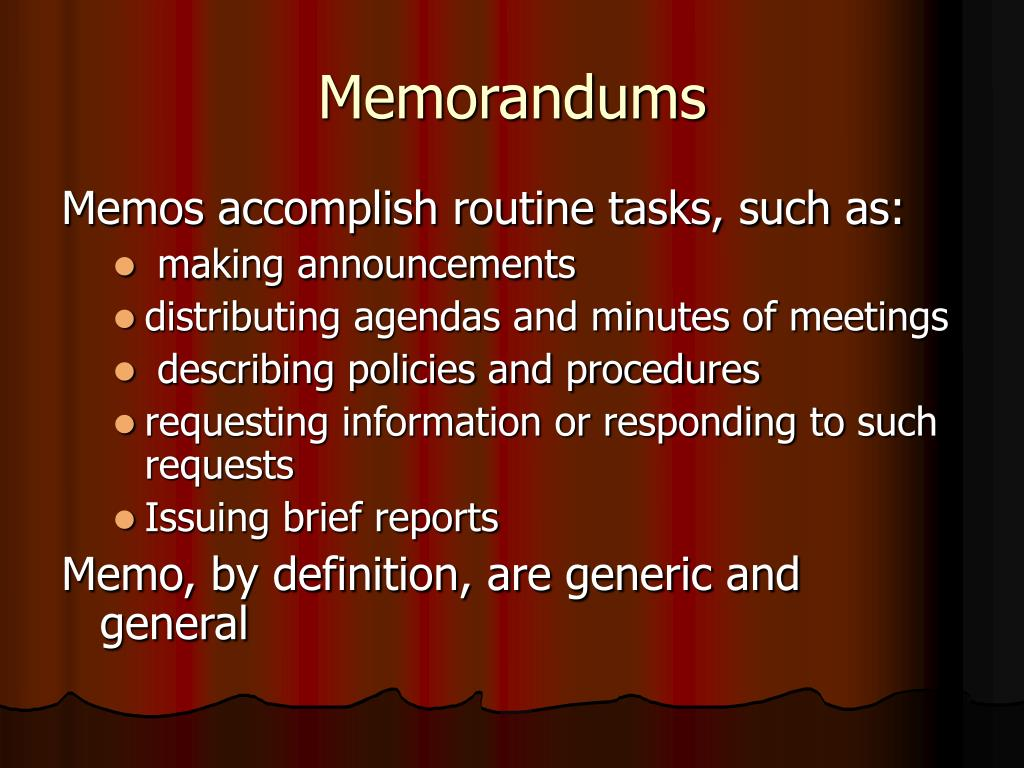 Memorandums