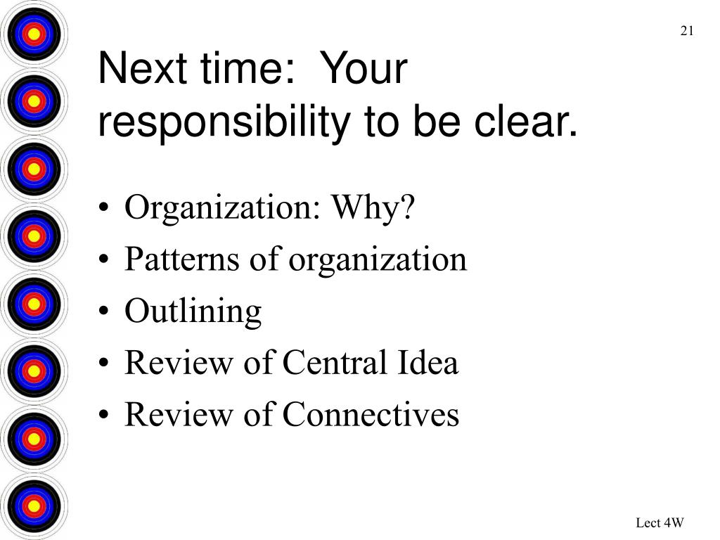 Next time:  Your responsibility to be clear.