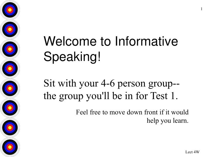 Welcome to Informative Speaking!