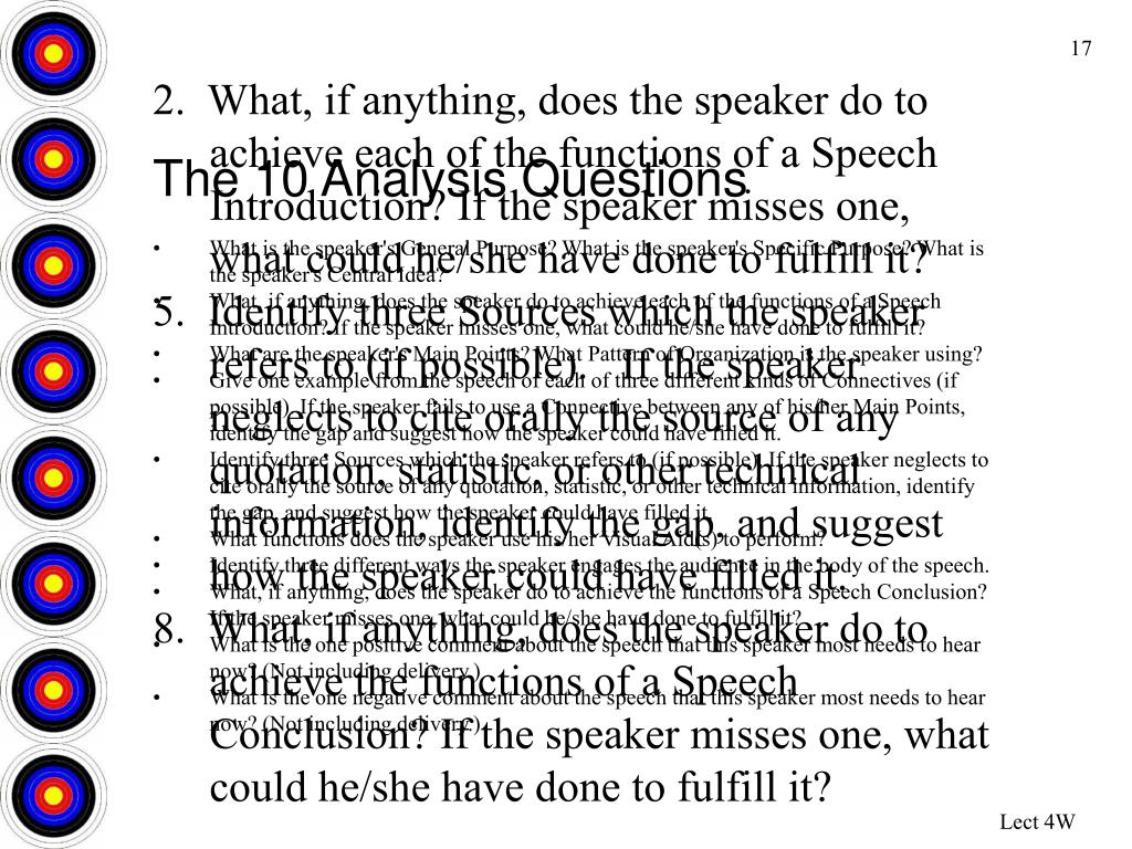 2.  What, if anything, does the speaker do to achieve each of the functions of a Speech Introduction? If the speaker misses one, what could he/she have done to fulfill it?