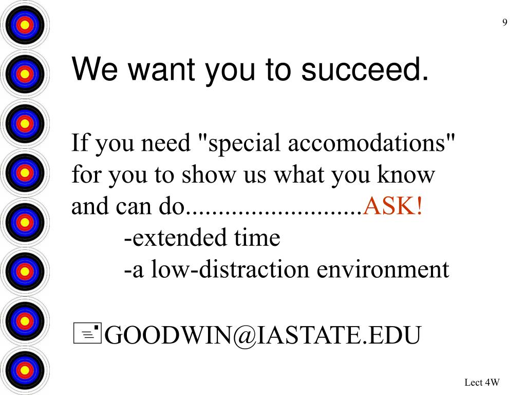 We want you to succeed.