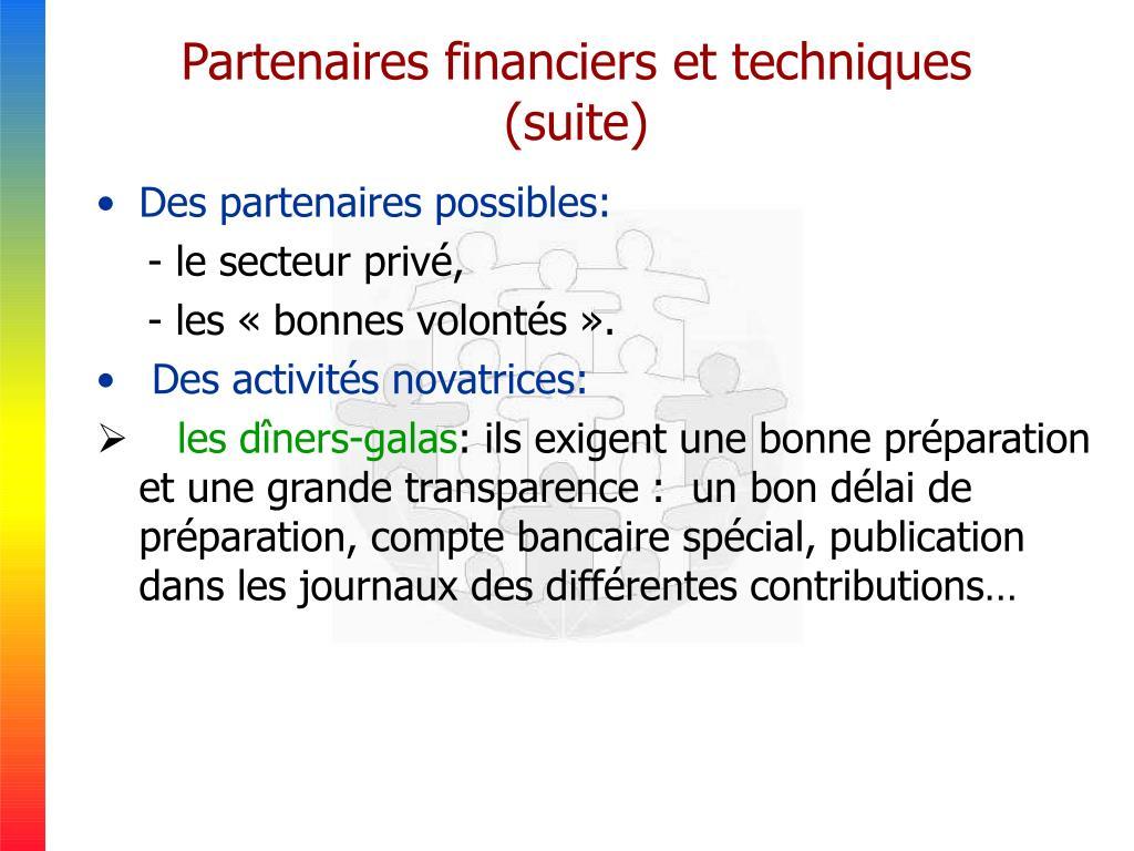Partenaires financiers et techniques  (suite)