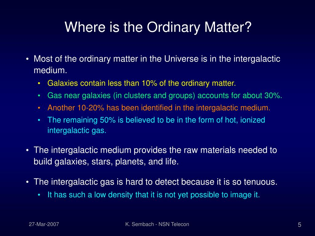 Where is the Ordinary Matter?