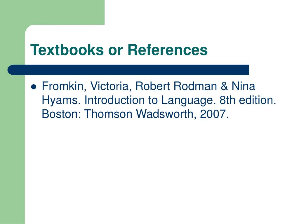 Textbooks or References