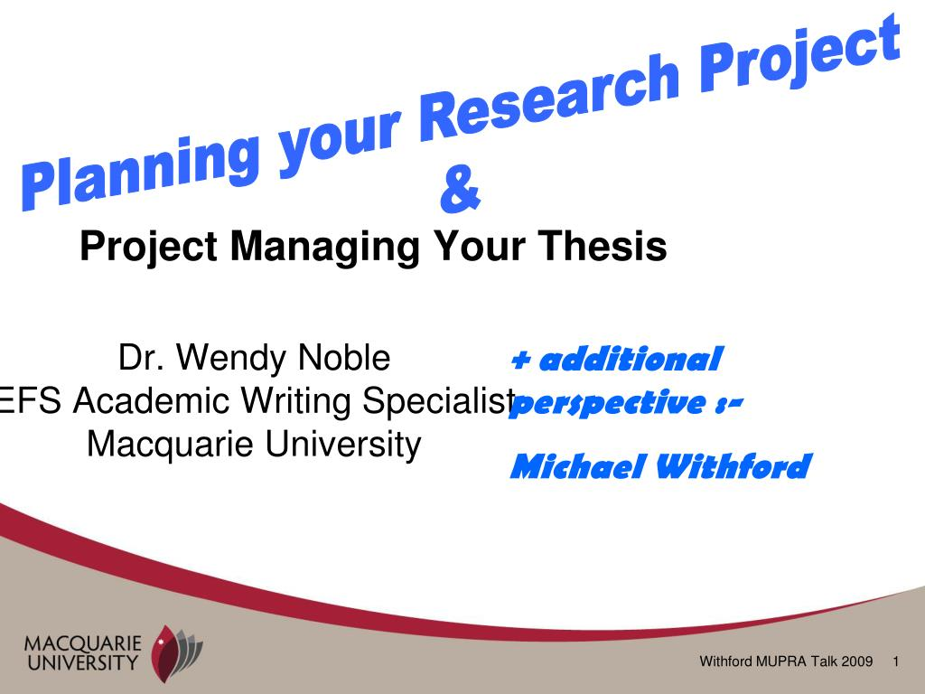 Planning your Research Project
