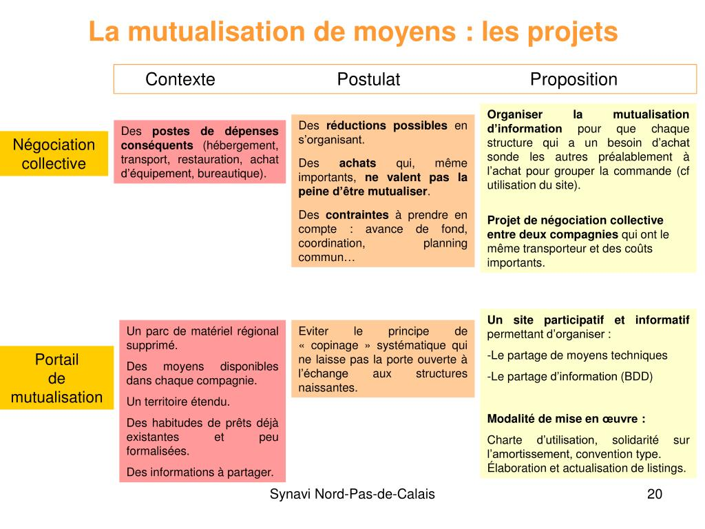 La mutualisation de moyens : les projets