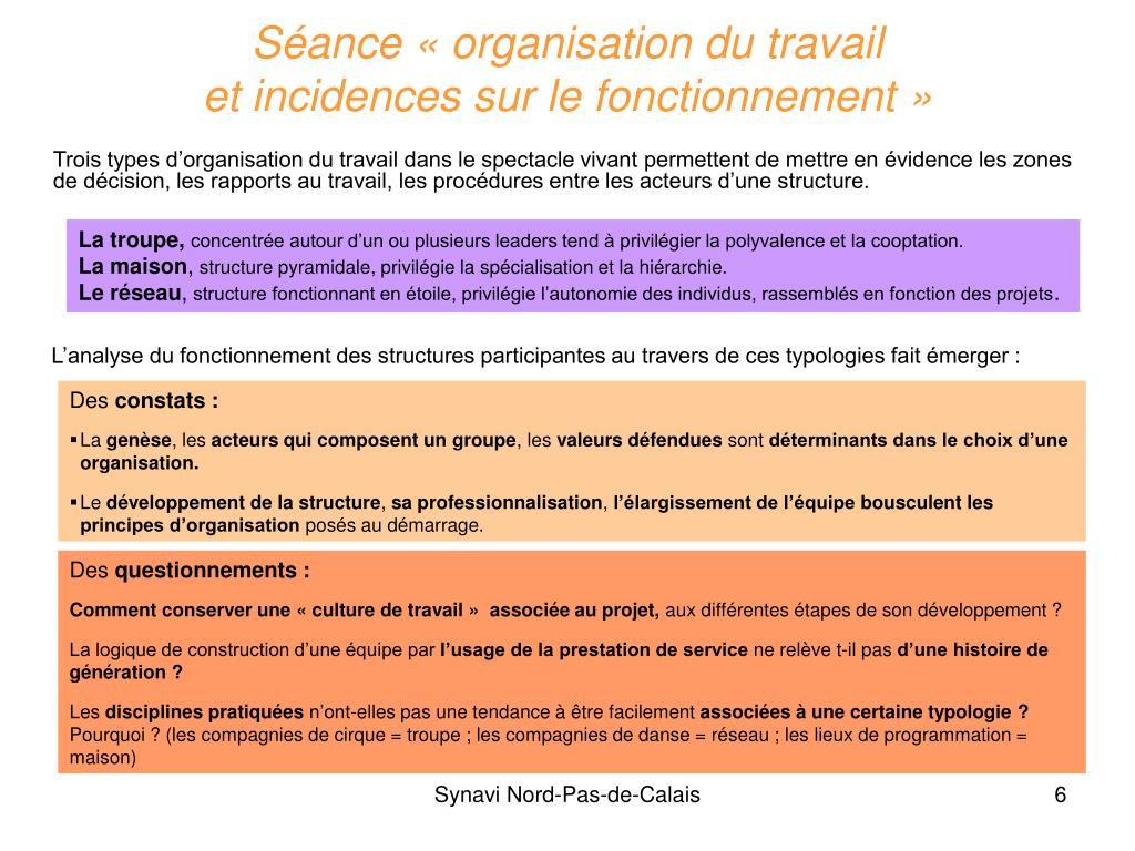 Séance «organisation du travail