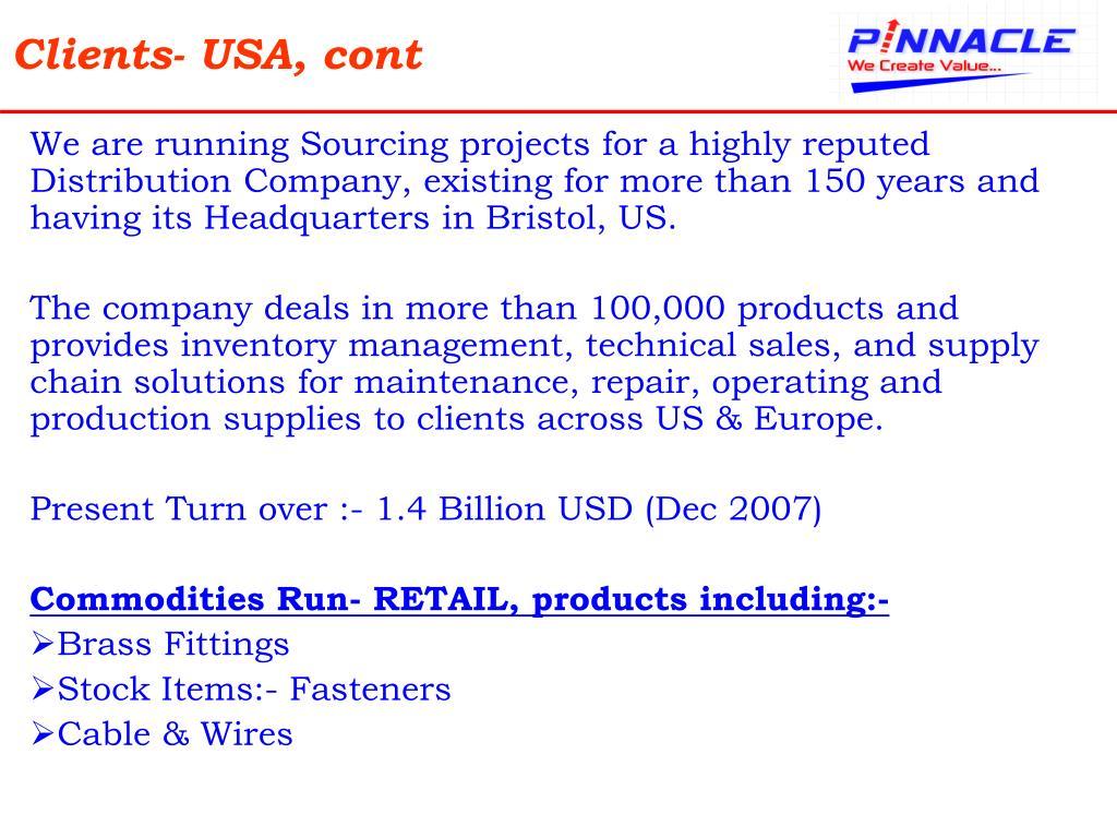 Clients- USA, cont