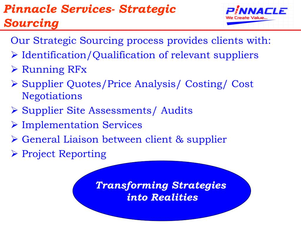Pinnacle Services- Strategic Sourcing