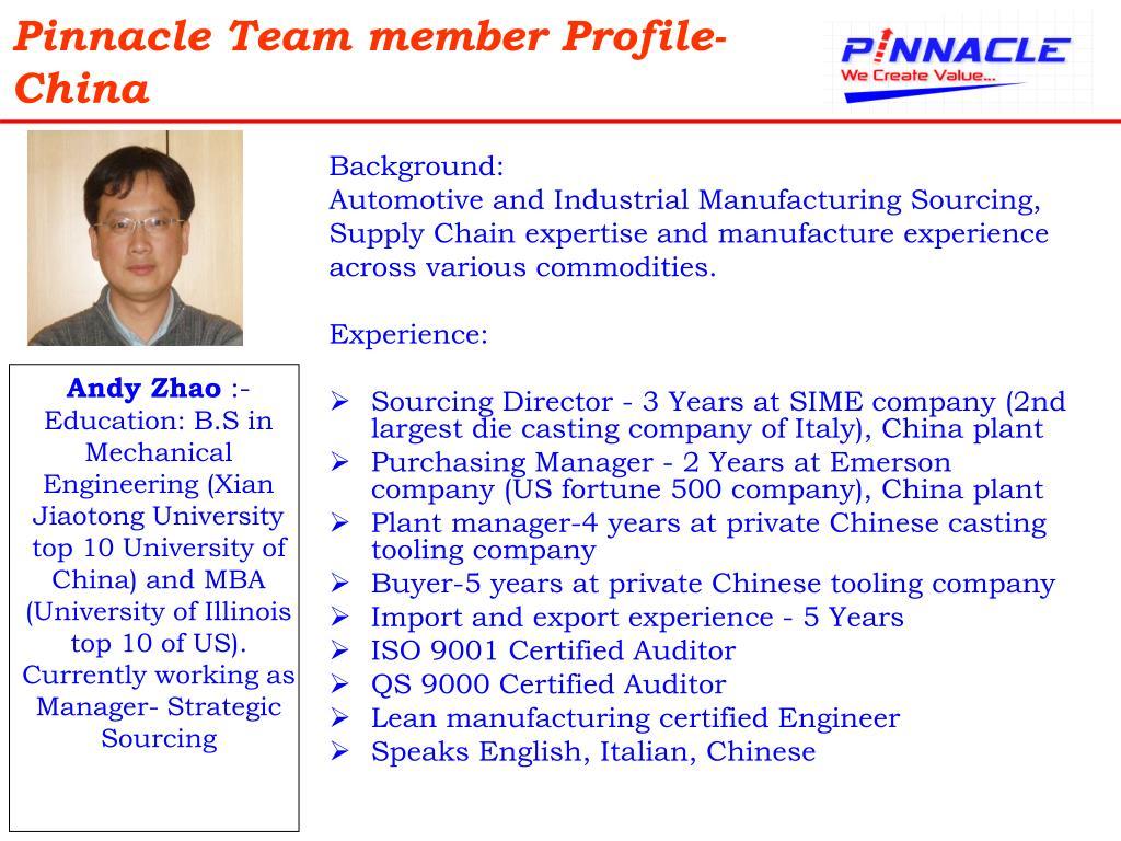 Pinnacle Team member Profile-China