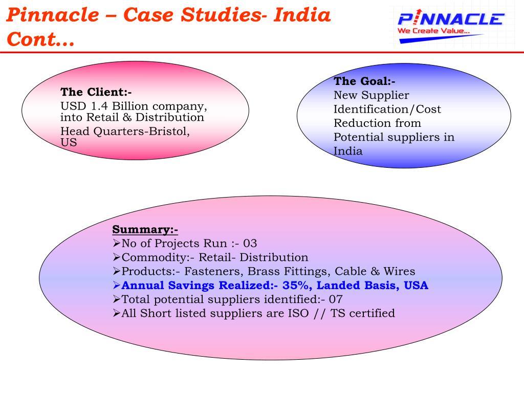 Pinnacle – Case Studies- India Cont…