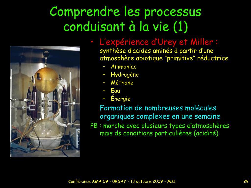 Comprendre les processus conduisant à la vie (1)