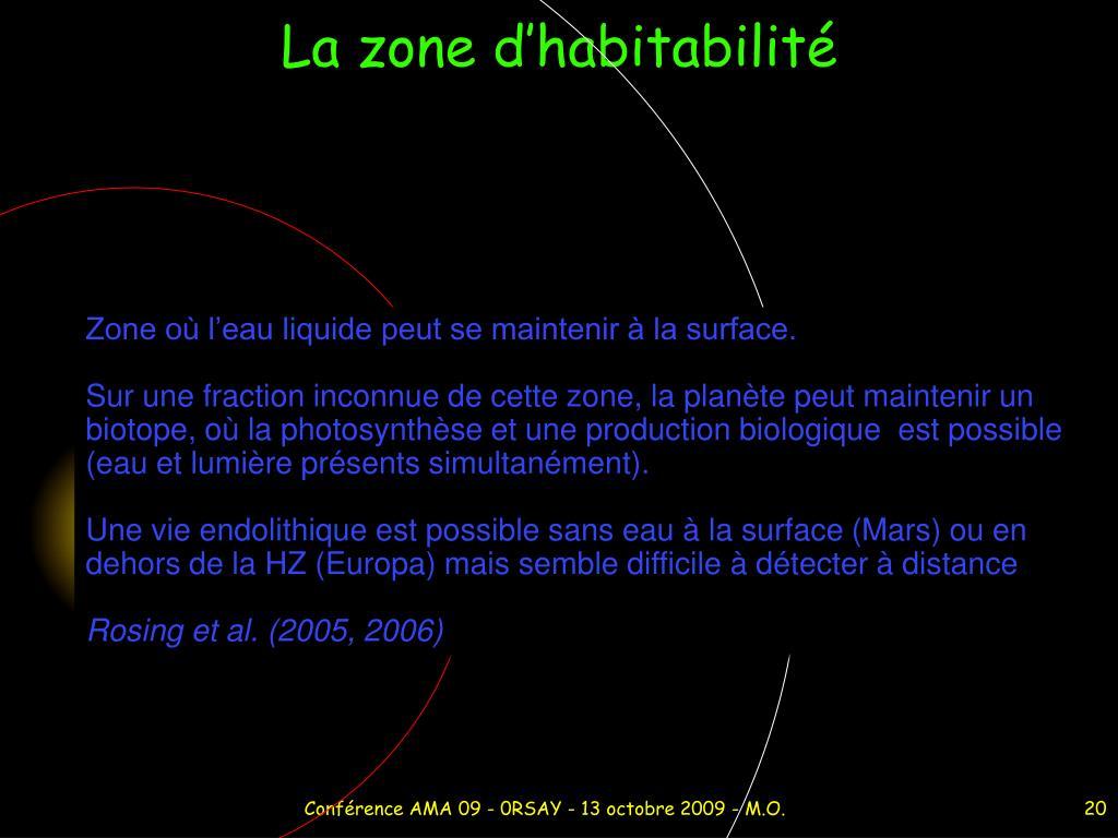 La zone d'habitabilité