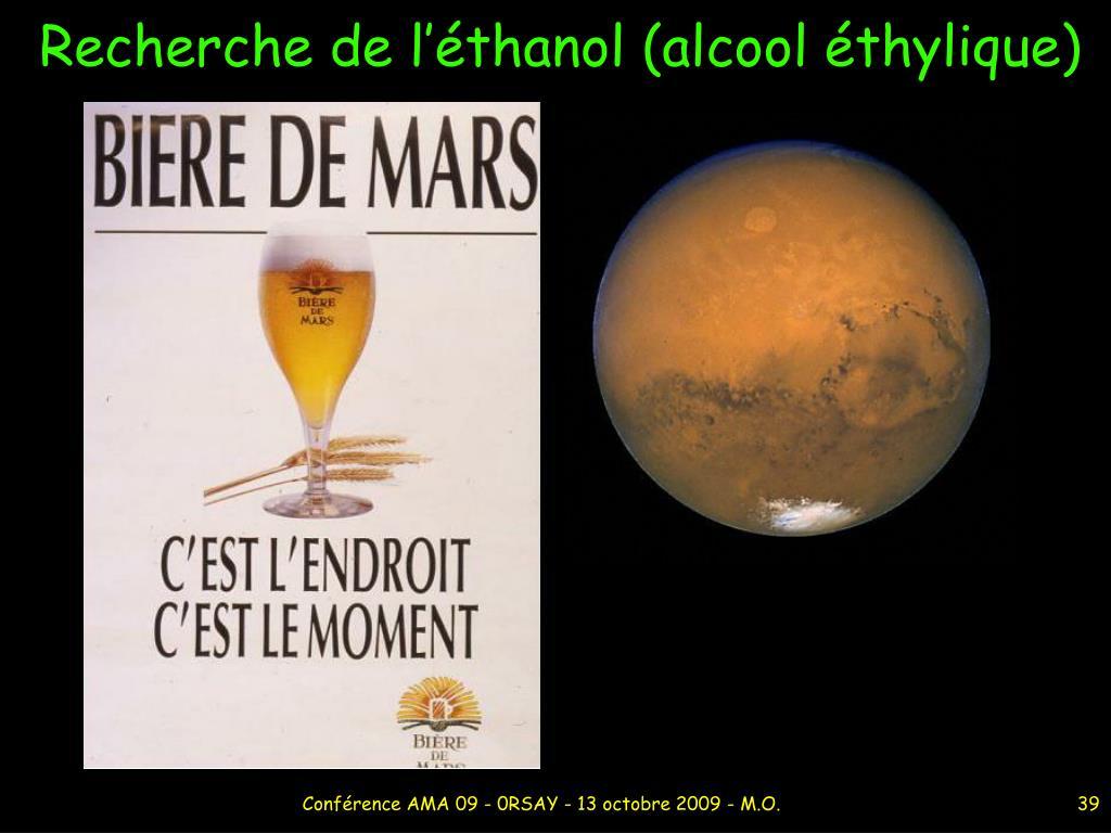 Recherche de l'éthanol (alcool éthylique)