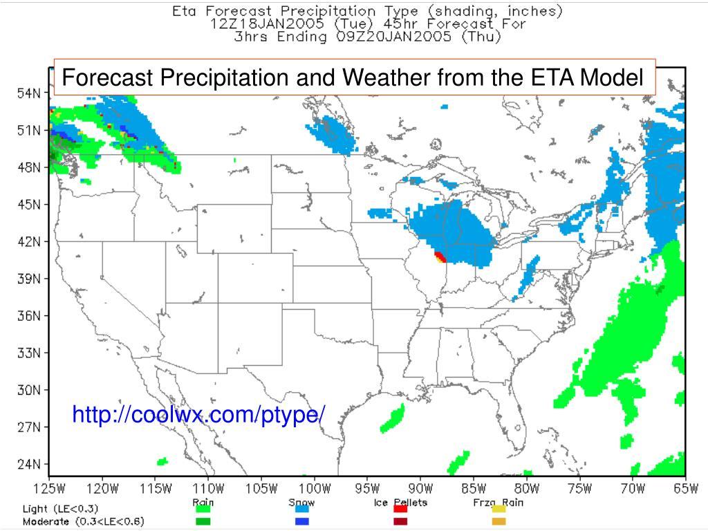 Forecast Precipitation and Weather from the ETA Model
