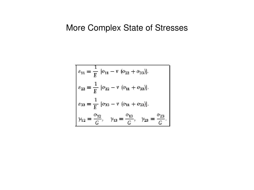 More Complex State of Stresses
