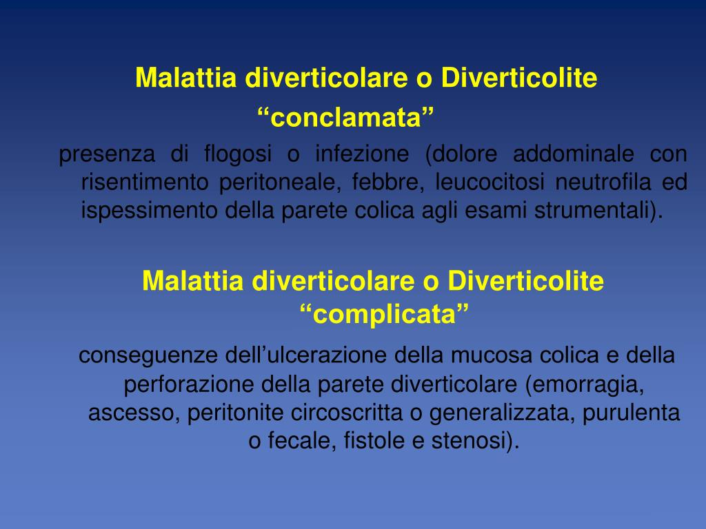 Malattia diverticolare o Diverticolite