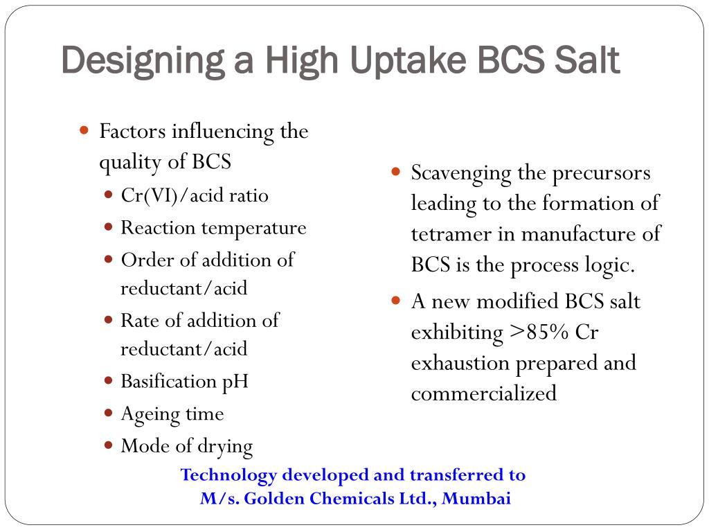 Designing a High Uptake BCS Salt