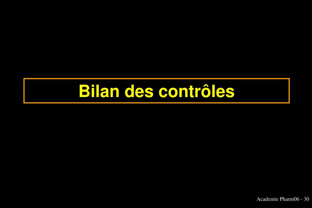 Bilan des contrôles