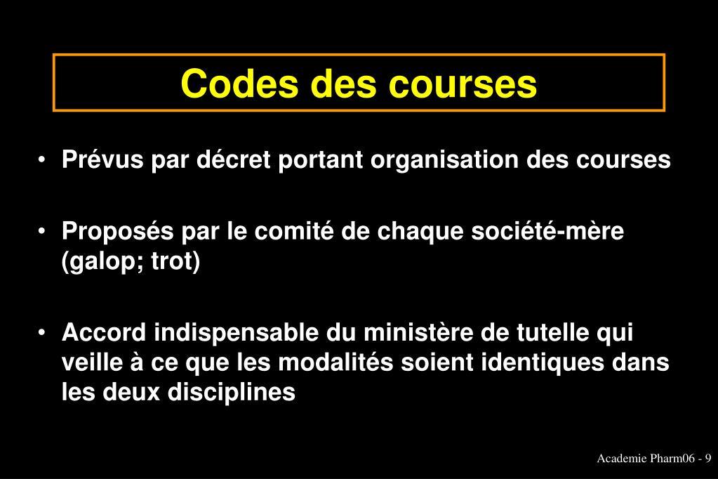 Codes des courses
