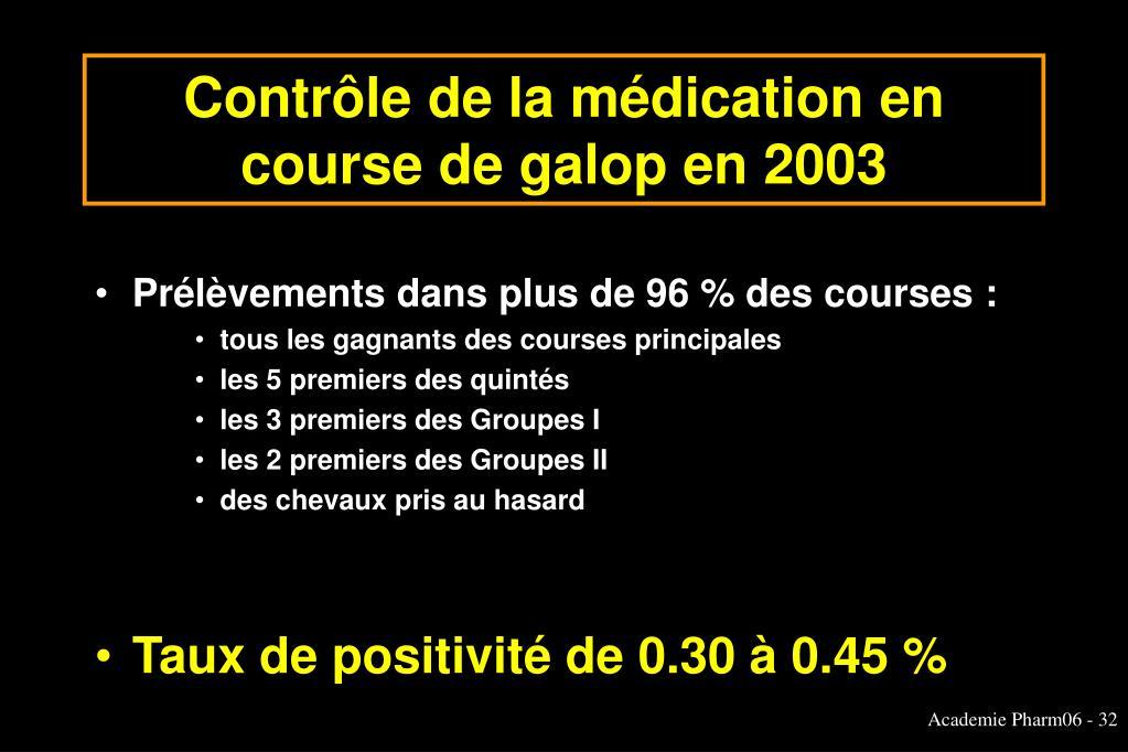 Contrôle de la médication en course de galop en 2003