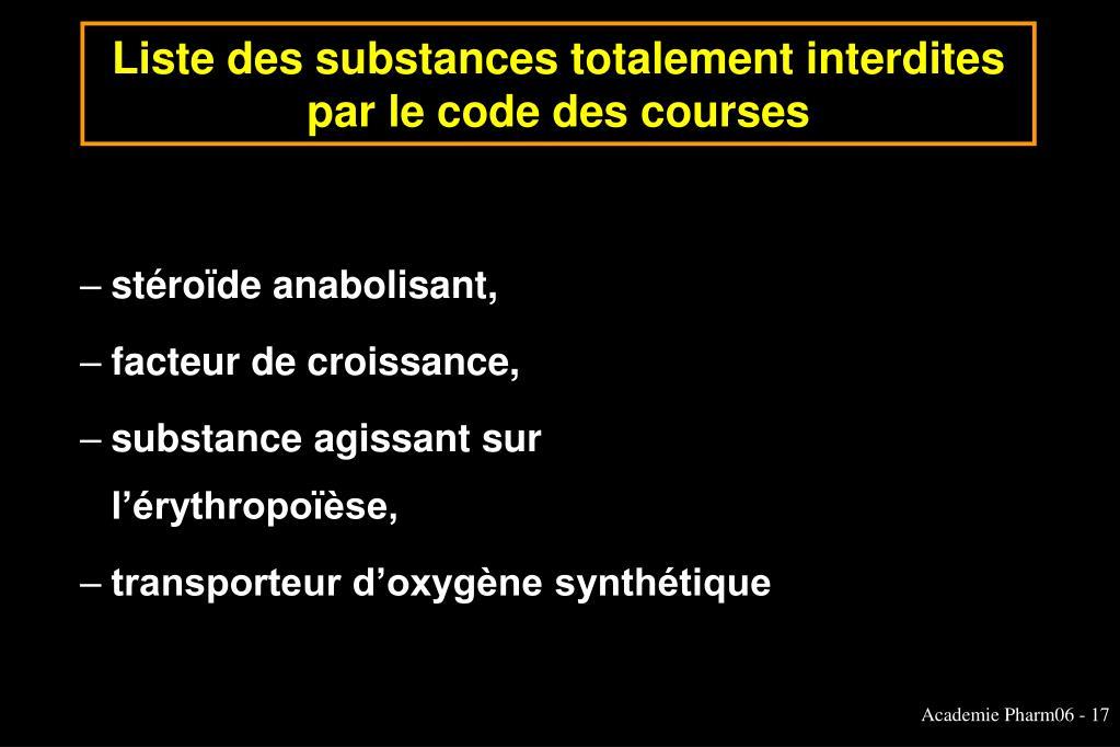 Liste des substances totalement interdites