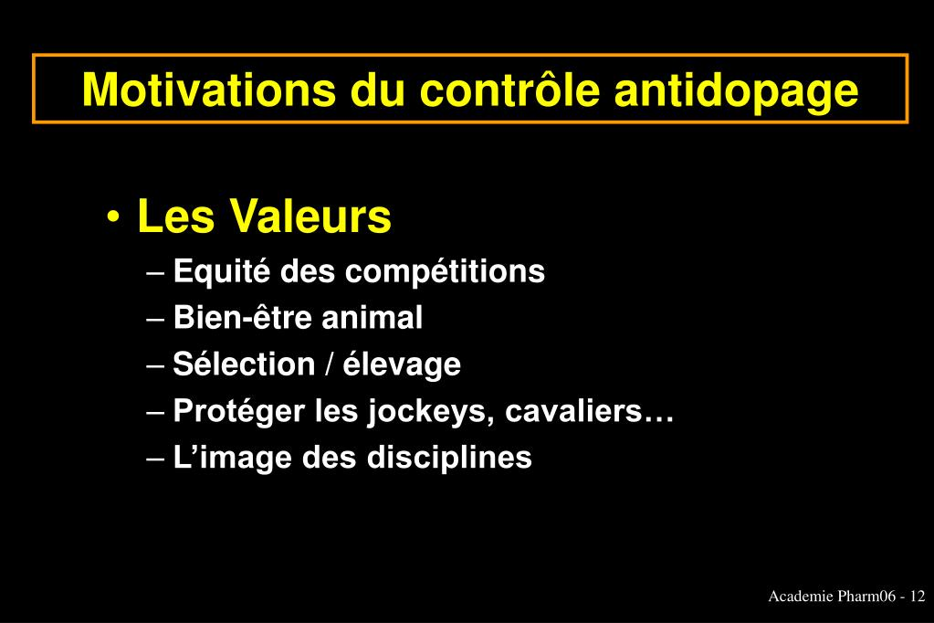 Motivations du contrôle antidopage